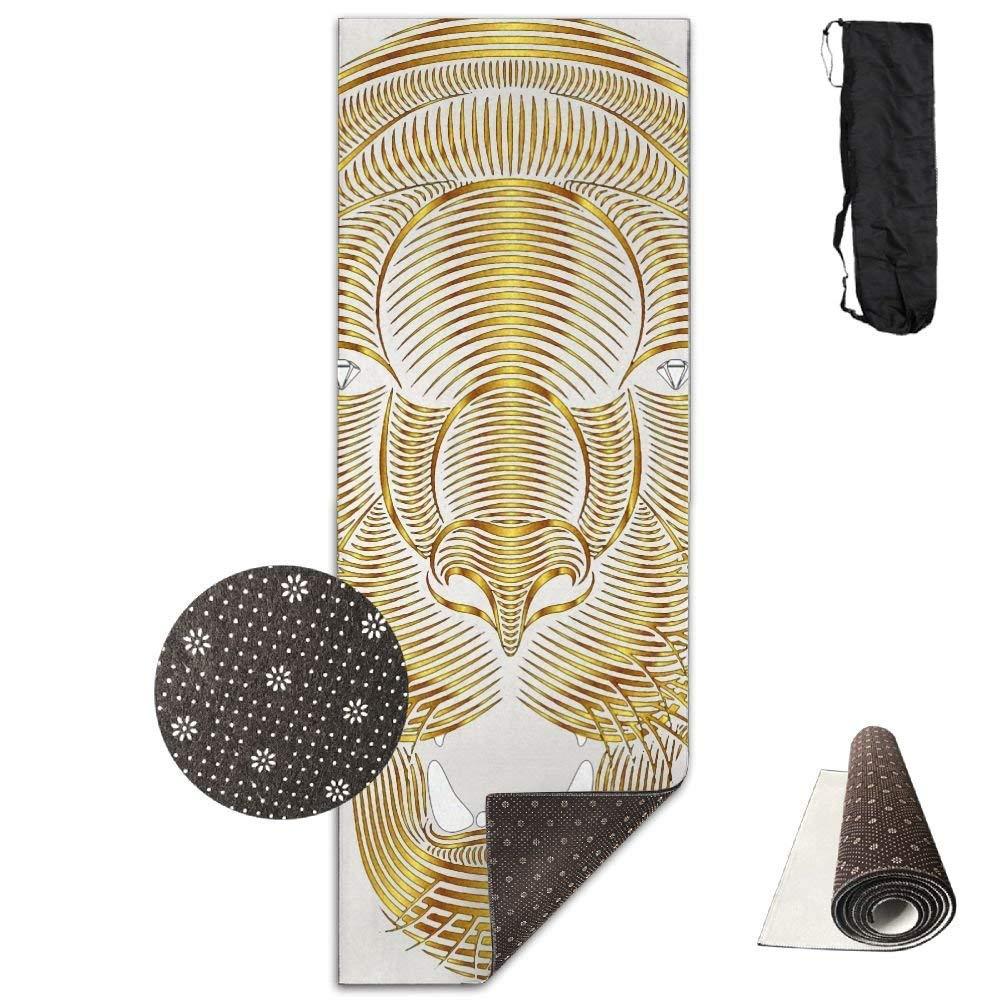 Vercxy oro Tiger Animal - Tappetino da Yoga avanzato, Fodera Antiscivolo, Facile da Pulire, Senza Lattice, Leggero e Resistente, 180 x 61 cm