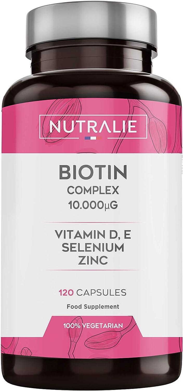 Biotina 10.000 mcg | Vitaminas D y E, Zinc, Selenio | Contribuye al Crecimiento del Cabello y Mantenimiento de Piel y Uñas | 120 Cápsulas | Nutralie