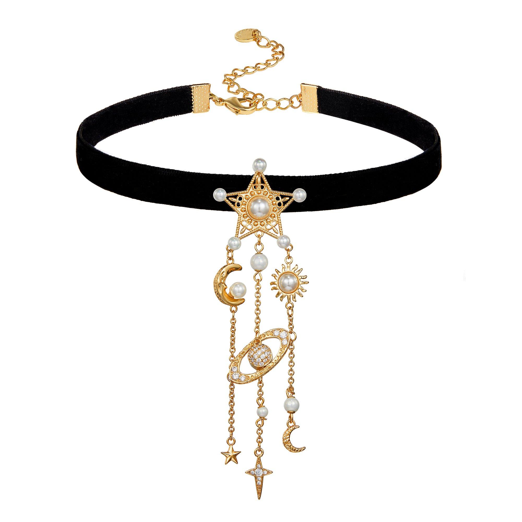 Black Velvet Choker Necklace Pearl Star Crescent Moon Sun Rhinestone Ball Ribbon Choker Necklace for Women Girls