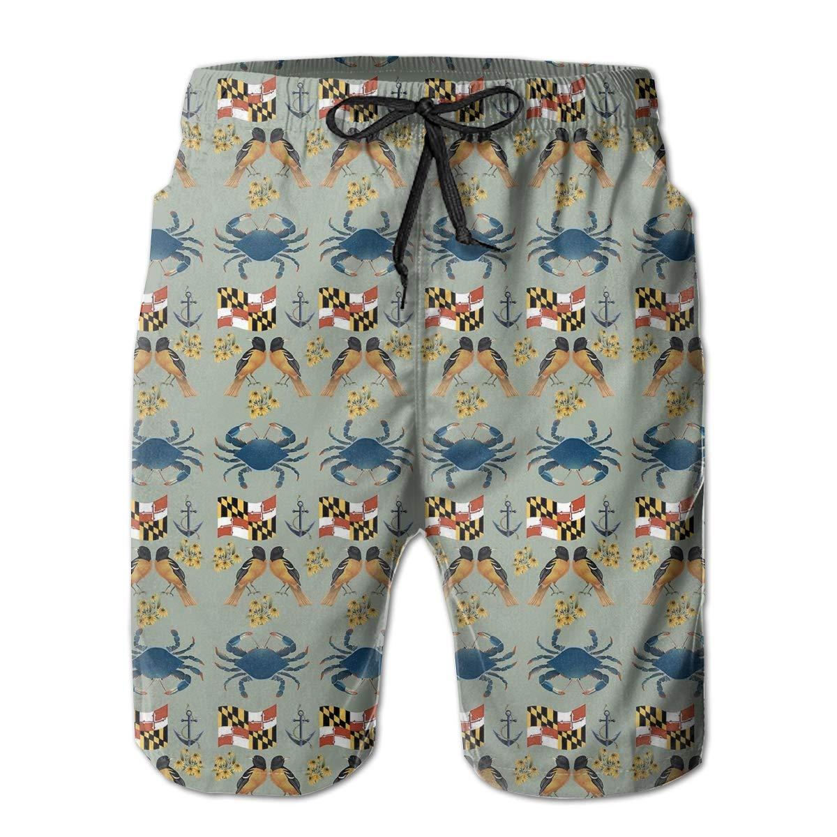 HZamora/_H Mens Maryland Flag Crab Summer Breathable Quick-Drying Swim Trunks Beach Shorts Board Shorts