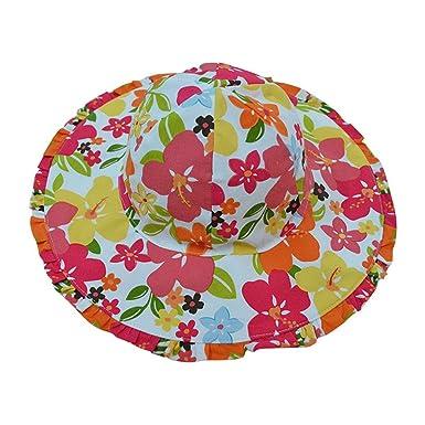 Tangda Chapeau Bébé Fille Soleil Pêche Outdoor Solaire Plage Bonnet en Coton  Imprimé Fleur Floral Anti b99b250c4fa