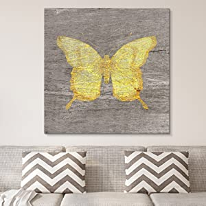 wall26 - Square Canvas Wall Art - Yellow Butterfly Wood Effect Canvas - Giclee Print Gallery Wrap Modern Home Art Ready to Hang - 24x24 inches