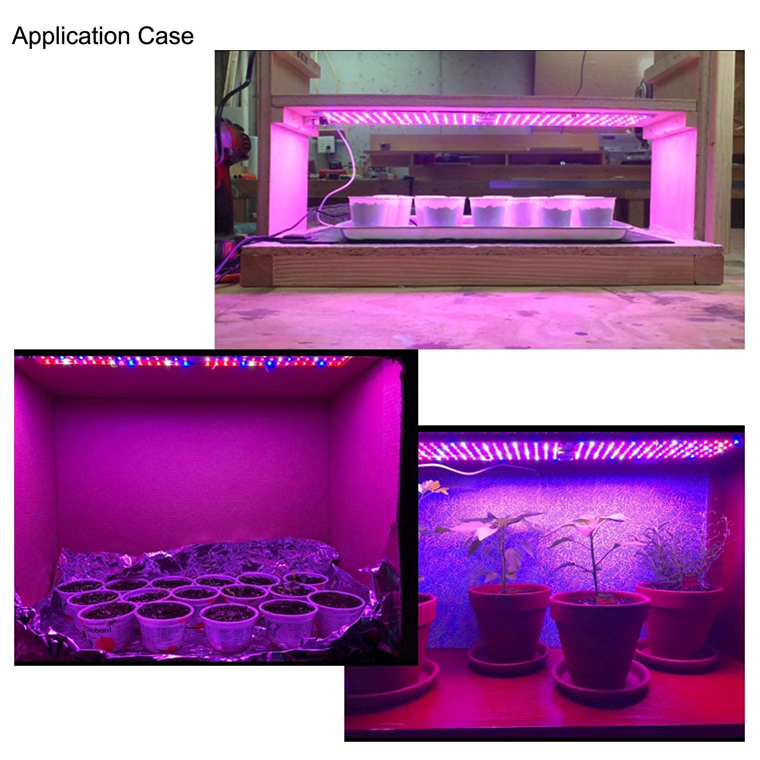 2 Sizes Variable for Greenhouse Hydroponic Indoor Plants Veg Flower Aceple 20W Indoor Growing Ultra-Thin Panel Plant Light with Switch and Plug LED Grow Light