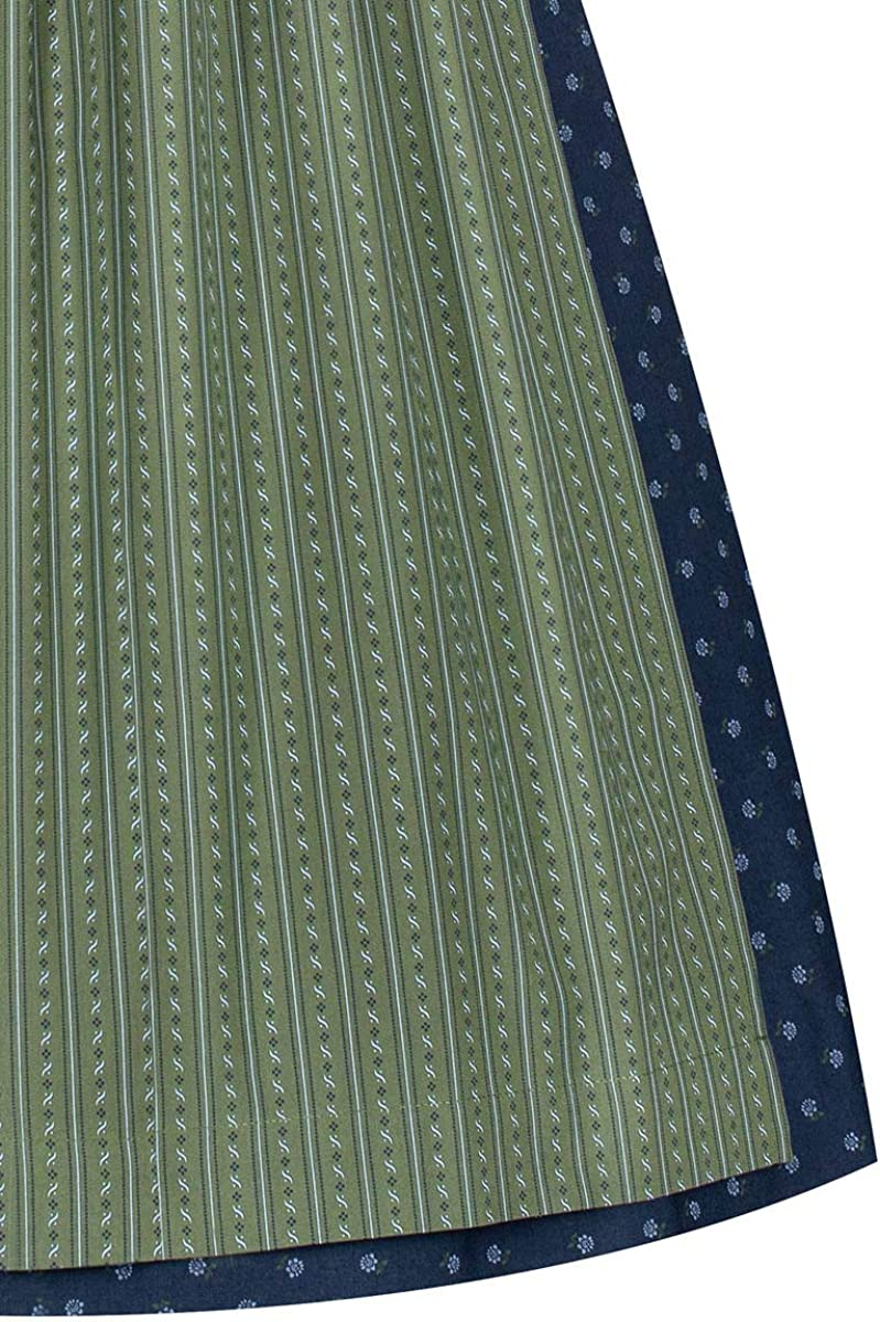 verzierte Trachtenkn/öpfe traditionelles Waschdirndl mit V-Ausschnitt und schmalem Stehkragen Lieblingsgwand Midi Dirndl 65cm dunkelblau Oliv Gemustert Emma 007330 mit dunkelblauer Samtborte