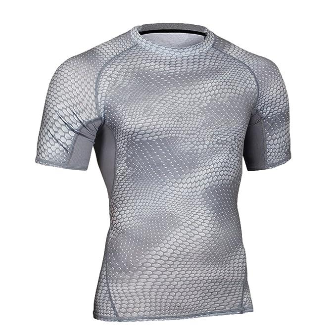 Yiiquan Hombre Manga Corta Camisetas Deportivas para Camiseta de Running Secado Rápido para Fitness Gym Gris