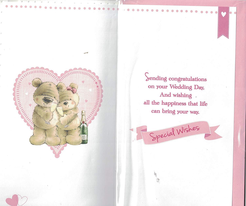 Wedding Day Card ~ Congratulations To You Both Just Married ~ Bride /& Groom Teddy /& Wedding Cake