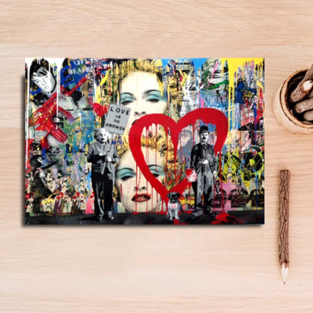 Art Abstract Graffiti Canvas Love Painting Heart Wall Art Picture ...