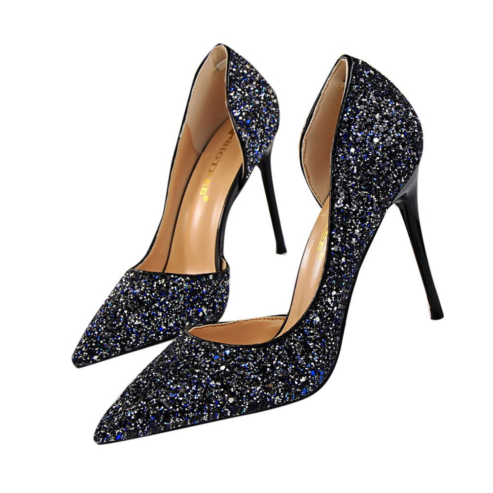 c37c15800c6c84 Amazon.com  Women s Sandals Youngh Fashion Pointed Toe Pumps Ladies Sexy  High Heels Shoes Bling Party Sandals Black  Clothing