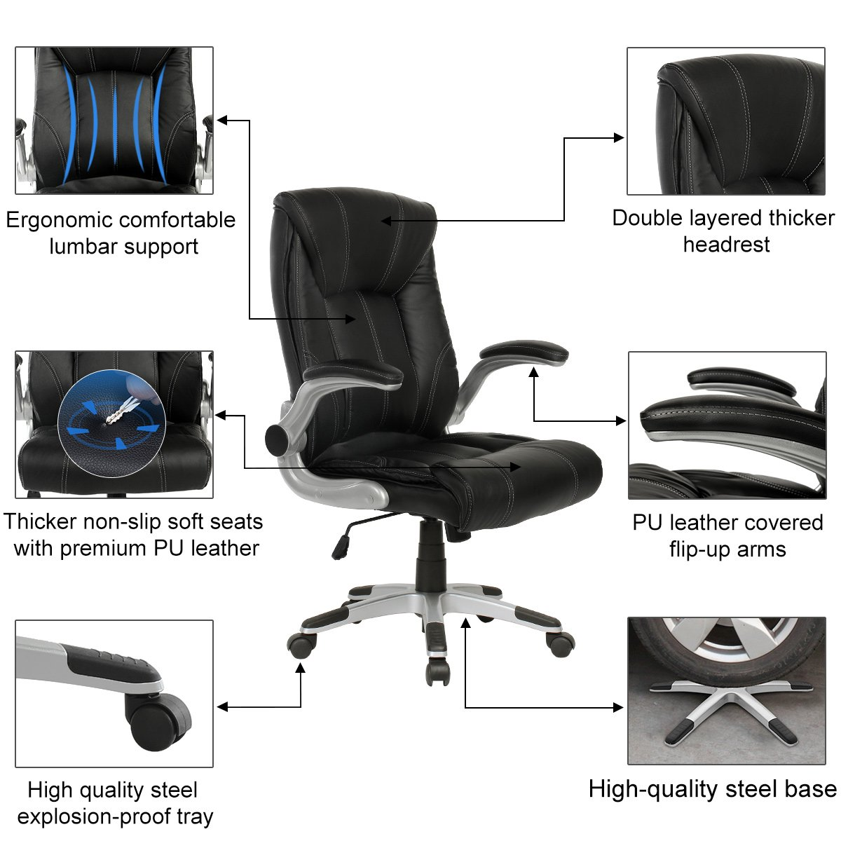 YAMASORO Ergonomic High-Back Executive Office Chair PU Leather Computer Desk Chair with Flip-up Arms and Back Support by YAMASORO (Image #6)