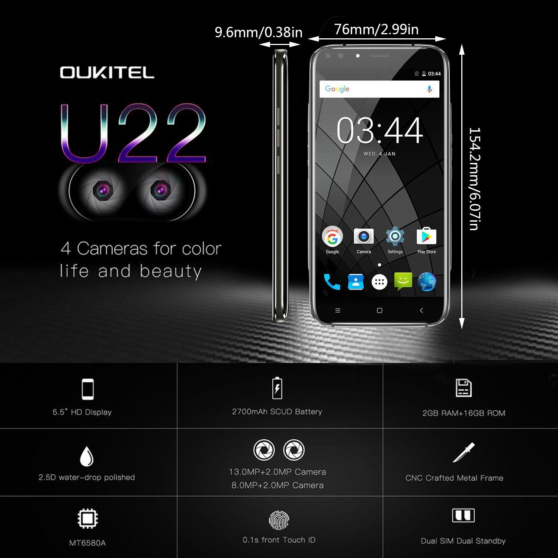 SIM-Free Mobile Phones, Oukitel-U22 Andriod 7 0 5 5 inch 3G