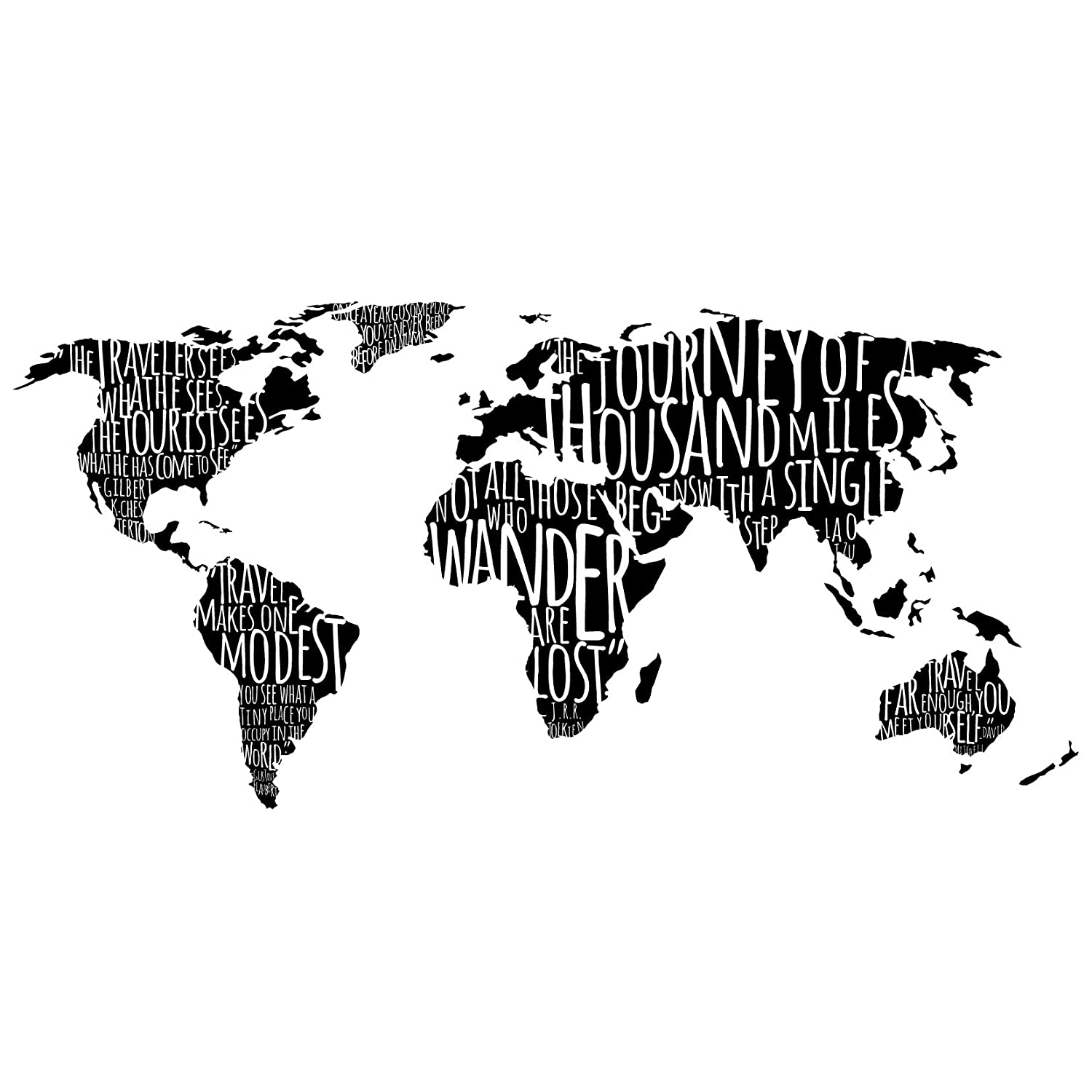 Amazon com world map with travel quotes in black custom vinyl wall art decal decor wall decor for homes offices kids rooms nurseries schools