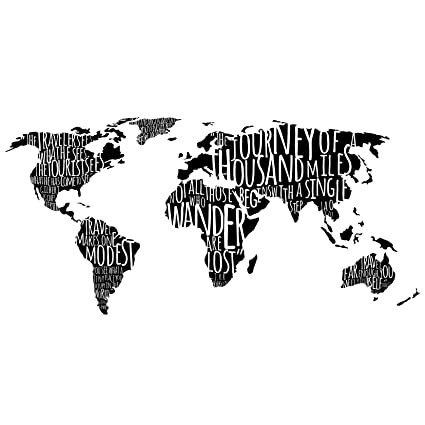 Amazon world map with travel quotes in black custom vinyl world map with travel quotes in black custom vinyl wall art decal decor wall gumiabroncs Image collections