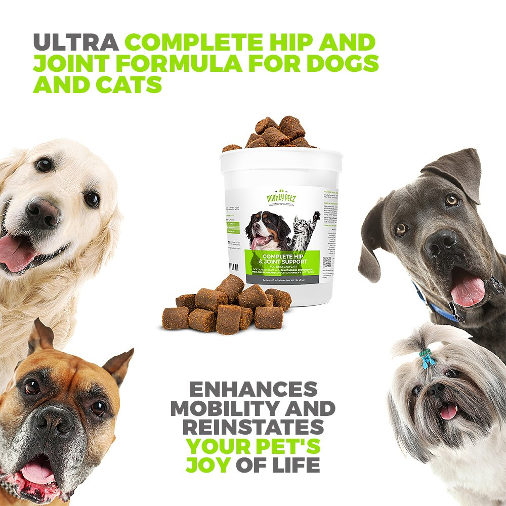 Mighty Petz 5in1 Glucosamine Chews for Dogs and Cats, Bonus eBook! Restores Mobility, Prevents Joint Stiffness! Hip & Joint Support Chondroitin MSM & Vitamin Treats, No Limping & Pain, Boost Energy! by Mighty Petz (Image #2)