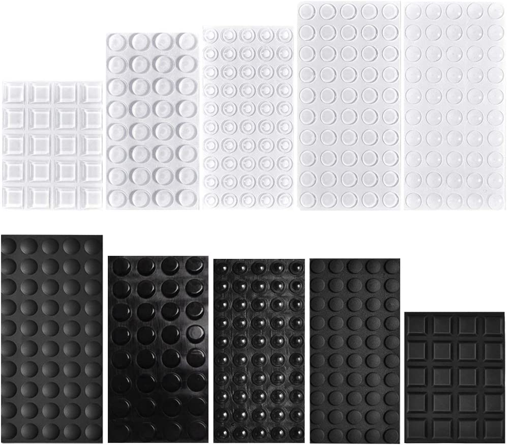 404 Pcs Rubber Feet Bumpers Pads, Cooyeah Self Adhesive Stick Bumper for Glass Table Top, Speakers, Electronics, Furniture, Cabinet, Clear and Black, 7 Different Sizes