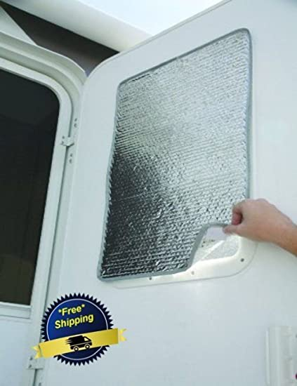 Sun Shield 16 X 24u0026quot; Door Window Cover Camco Reflective Motorhome Shade  ...