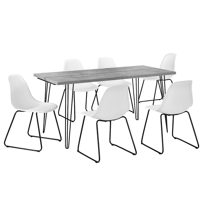 [en.CASA] Table à Manger Design avec Pieds d'épingle à Cheveux Table de Cuisine Table de Salle à Manger - 160cm x 75cm x 77cm - béton [en.casa]®