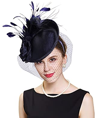 Edith qi Lady Handmade Flower Mesh Feather Fascinators Hat Kentucky ... be01de8877f