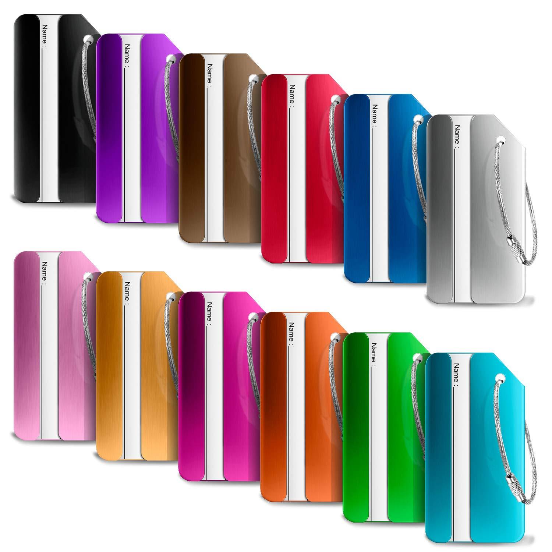 5bfecfe77a Ivencase 12 pièce Mix Couleurs Bagages Étiquettes en Alliage d'aluminium  avec Cordes en Acier