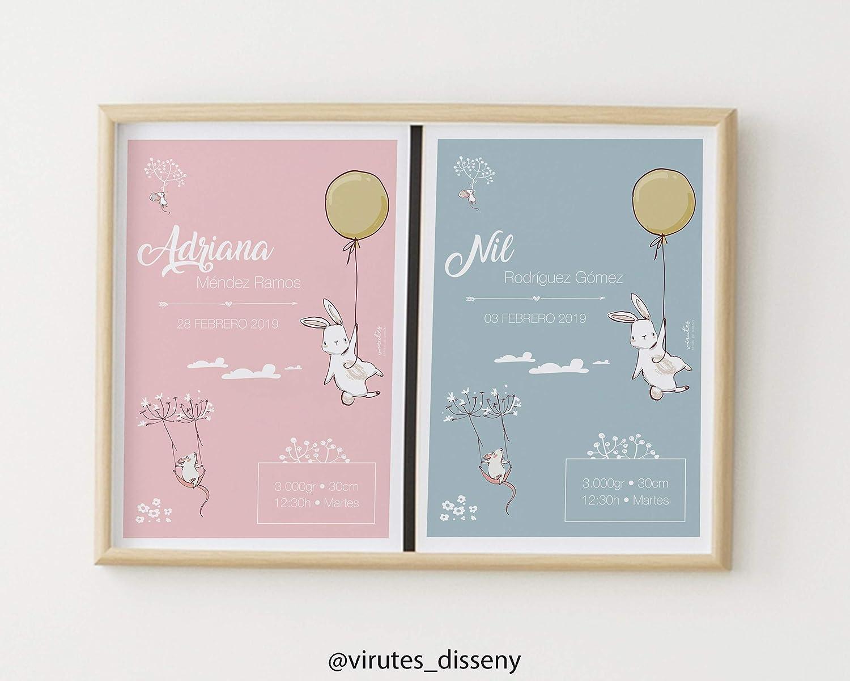 Lámina Bienvenido Bebé Conejitos // Cuadro listo para colgar // Ten un recuerdo del momento más bonito de tu vida // Sugerencia de regalo