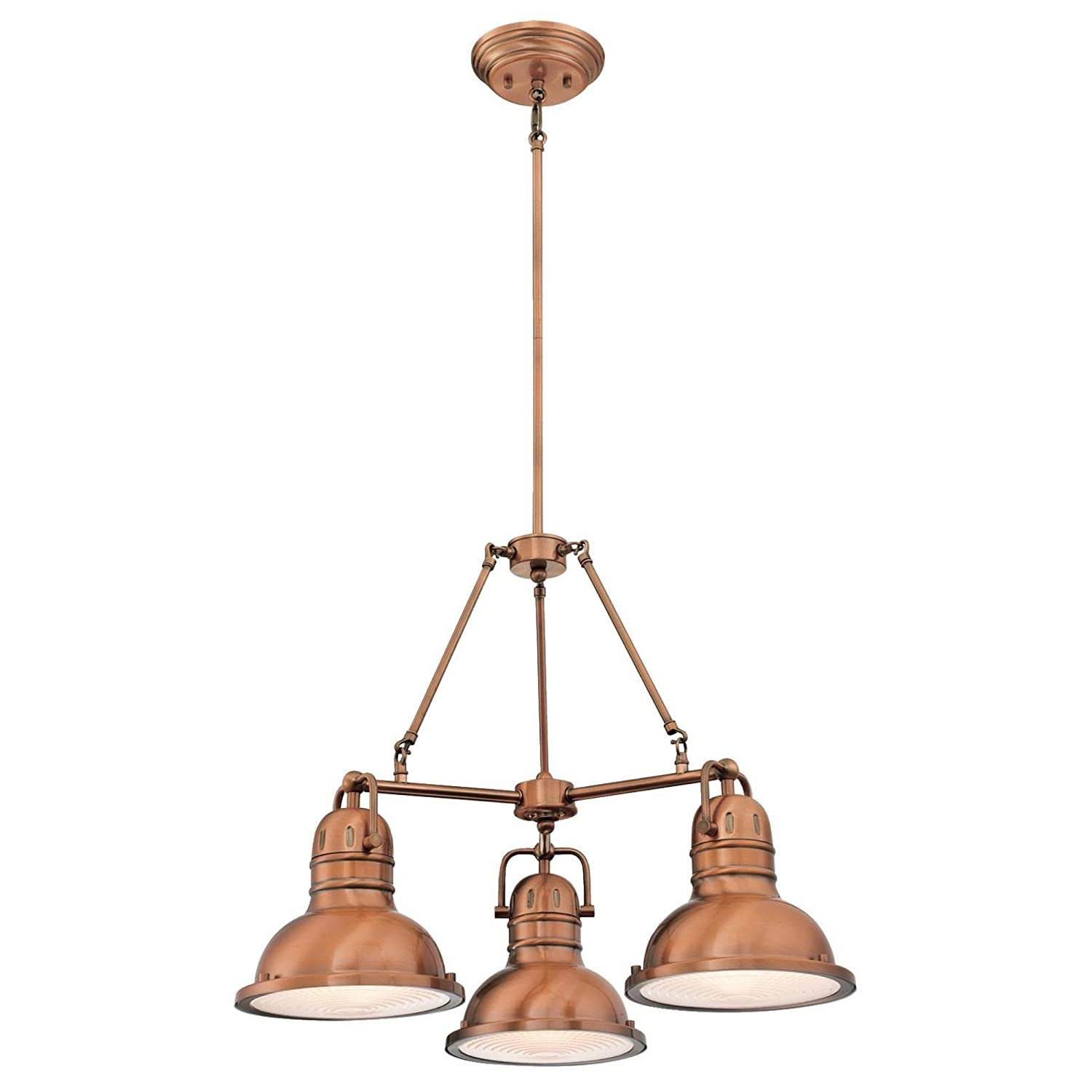 Westinghouse Lighting 6333800 Boswell Three-Light Indoor Chandelier, Washed Copper Finish with Prismatic Lens
