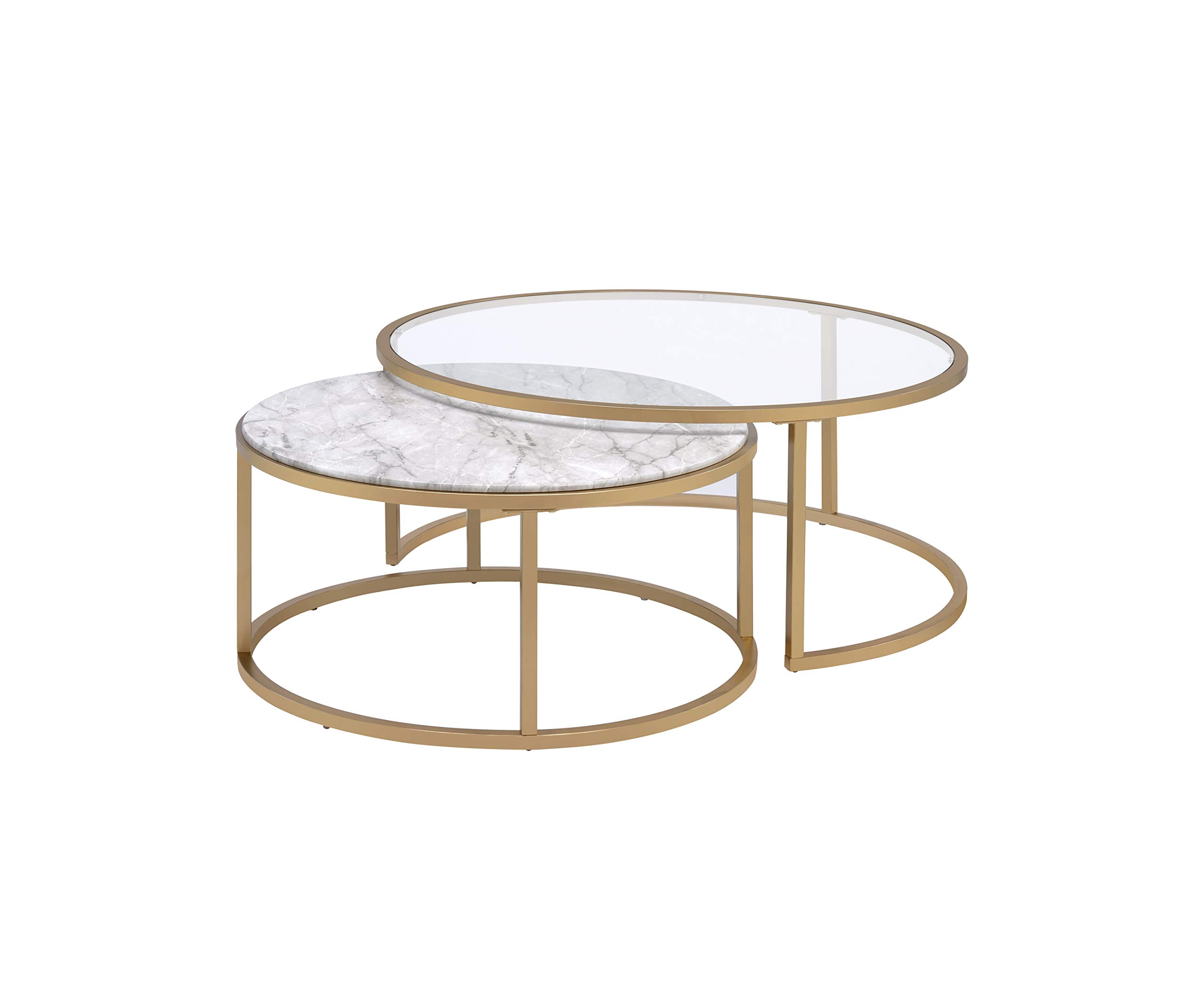Acme Furniture 2-Pc Nesting Table Set in Faux Marble and Gold by Acme Furniture