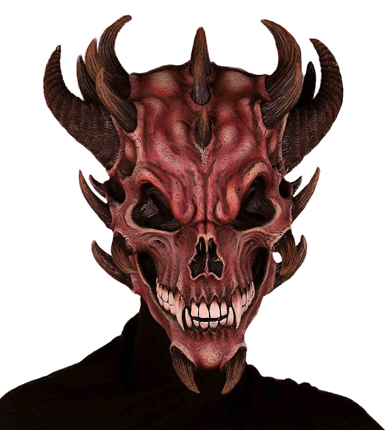 Amazon.com: Forum Novelties Men's Devil Skull Latex Mask, Red, One ...