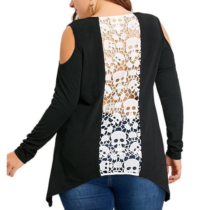 Talla grande Camiseta tops de manga larga para Mujer, Yannerr primavera encaje hombros descubiertos Cráneo