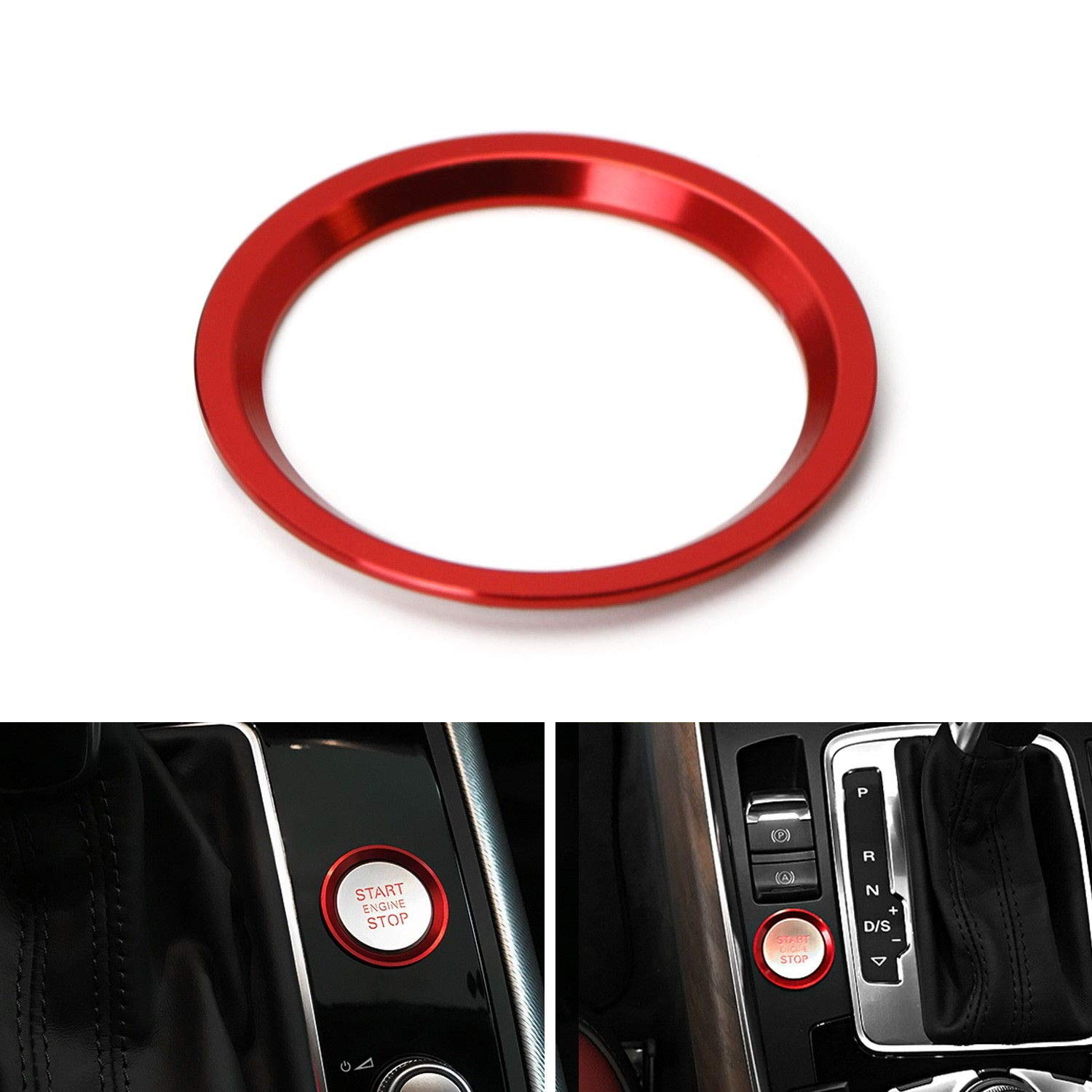 iJDMTOY (1) Red Aluminum Keyless Engine Push Start Button Surrounding Decoration Trim For Audi A4 A5 A7 Q5, etc iJDMTOY Auto Accessories Peel-N-Apply Self-Adhesive Ring/Cover