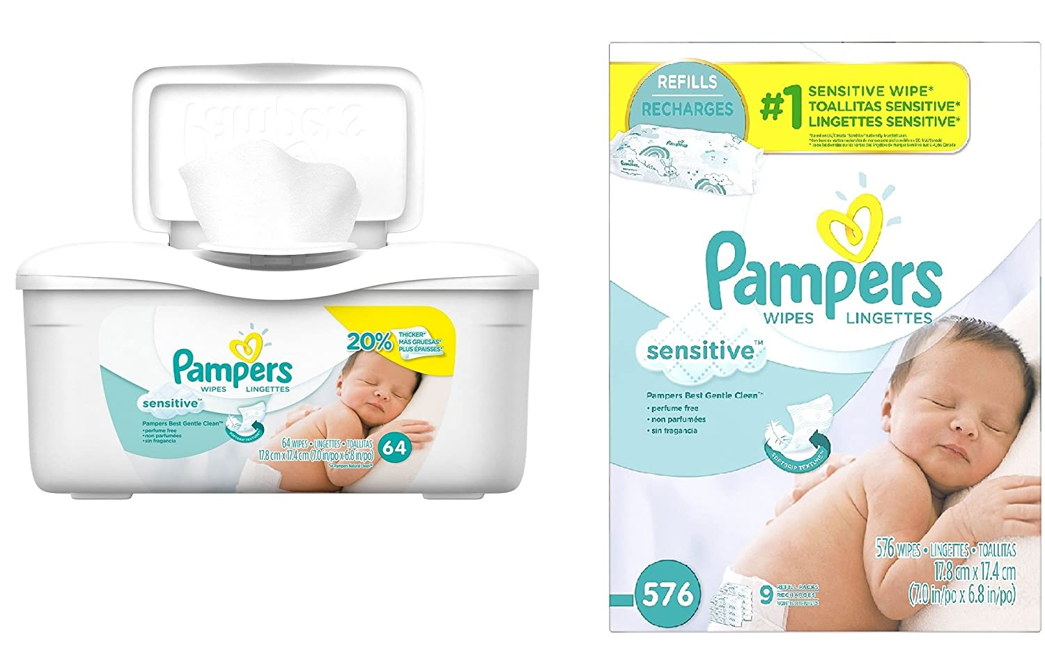 Amazon.com : Pampers Baby Wipes Tub, Sensitive - 64 Wipes/Tub (1Tub/9Refills/640 Count, Sensitive) : Baby