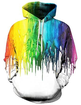 b6dec1096 Amazon.com: Loveternal 90s Unisex Rainbow Paint Splatter Hoodie 3D Digital  Graphic Print Cool Awesome Drawstring Pocket Pullover Hooded Sweatshirt  L/XL: ...