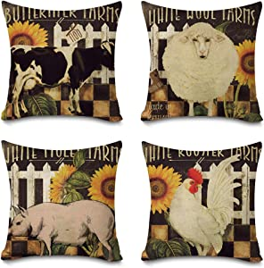 Faromily Vintage Farmhouse Animals Pillow Covers Pig Rooster Cow Sheep Farm Fresh Sunflowers Home Decor Cushion Covers Throw Pillow Cases Cotton Linen 18 x 18 inch Set of 4