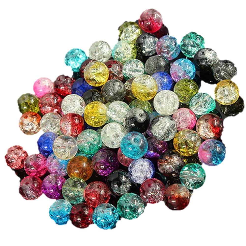 100pcs 8mm Mixed Colourful Glass Crystals Beads for Jewellery Making Crafts DIY Bluelans