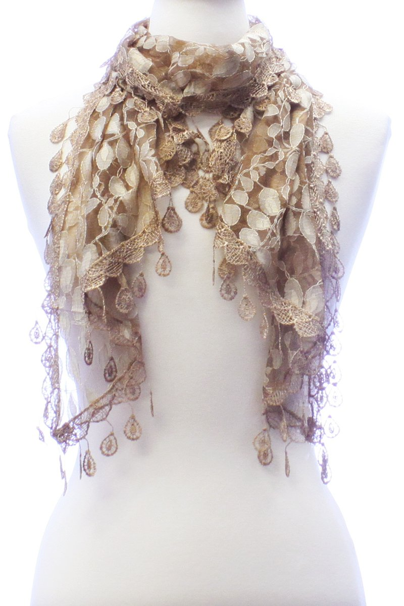 LL Womens Golden Brown Leaf Lace Scarf with Rain Drop Fringe Tassels by BSB (Image #1)