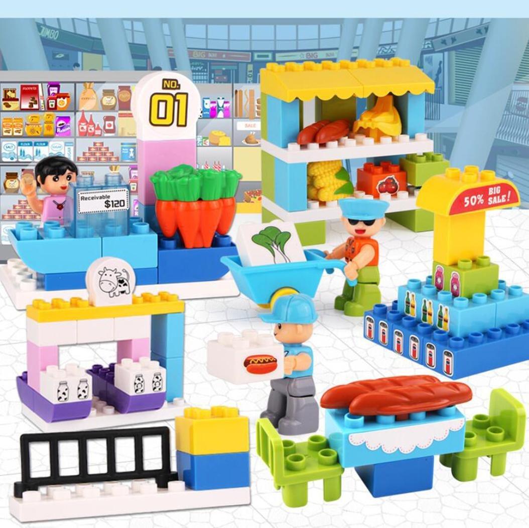 AN-LKYIQI Los nintilde;os ensamblados bloques de de de juguete centros comerciales escenarios rompecabezas iluminacioacute;n compatible grandes partiacute;culas bloques de construccioacute;n juguetes c53195