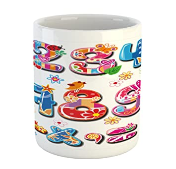 Mathematics Classroom Mug By Lunarable, Joyous Colorful Collection Of  Cartoon Numbers Flowers And Animals,