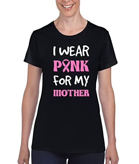 Amazon.com: AW Fashions I Wear Pink for My Mother - Breast Cancer Awareness Premium Womens T-Shirt: Clothing