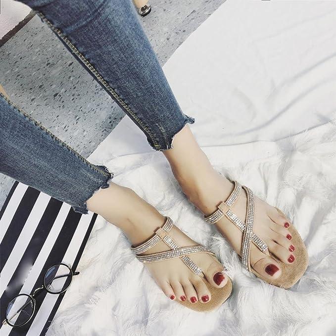 ... Suave Zapatillas de Estar por Casa, Mujer Playa Plano Zapatillas Fiesta Viento Clip Toe Sandalias Rhinestones Roma Zapatos: Amazon.es: Ropa y accesorios