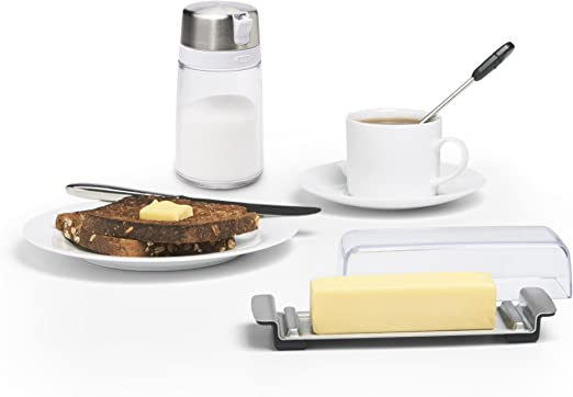 OXO Good Grips stainless steel Wide burro e crema di formaggio Burriera A Stainless Steel//Clear
