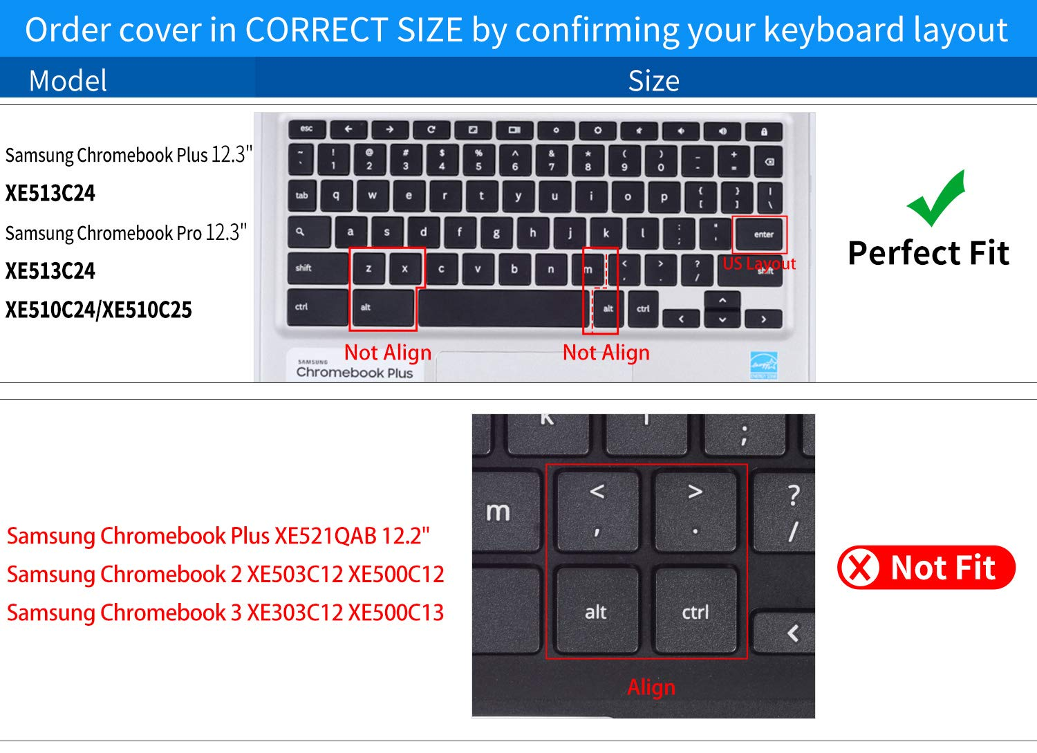 CaseBuy Premium Keyboard Protector Cover Compatible Samsung Chromebook Pro 12.3 inch XE510C24 XE510C25 XE513C24 / Samsung Chromebook Plus 12.3 inch XE513C24 Soft-Touch Protective Skin, Purple