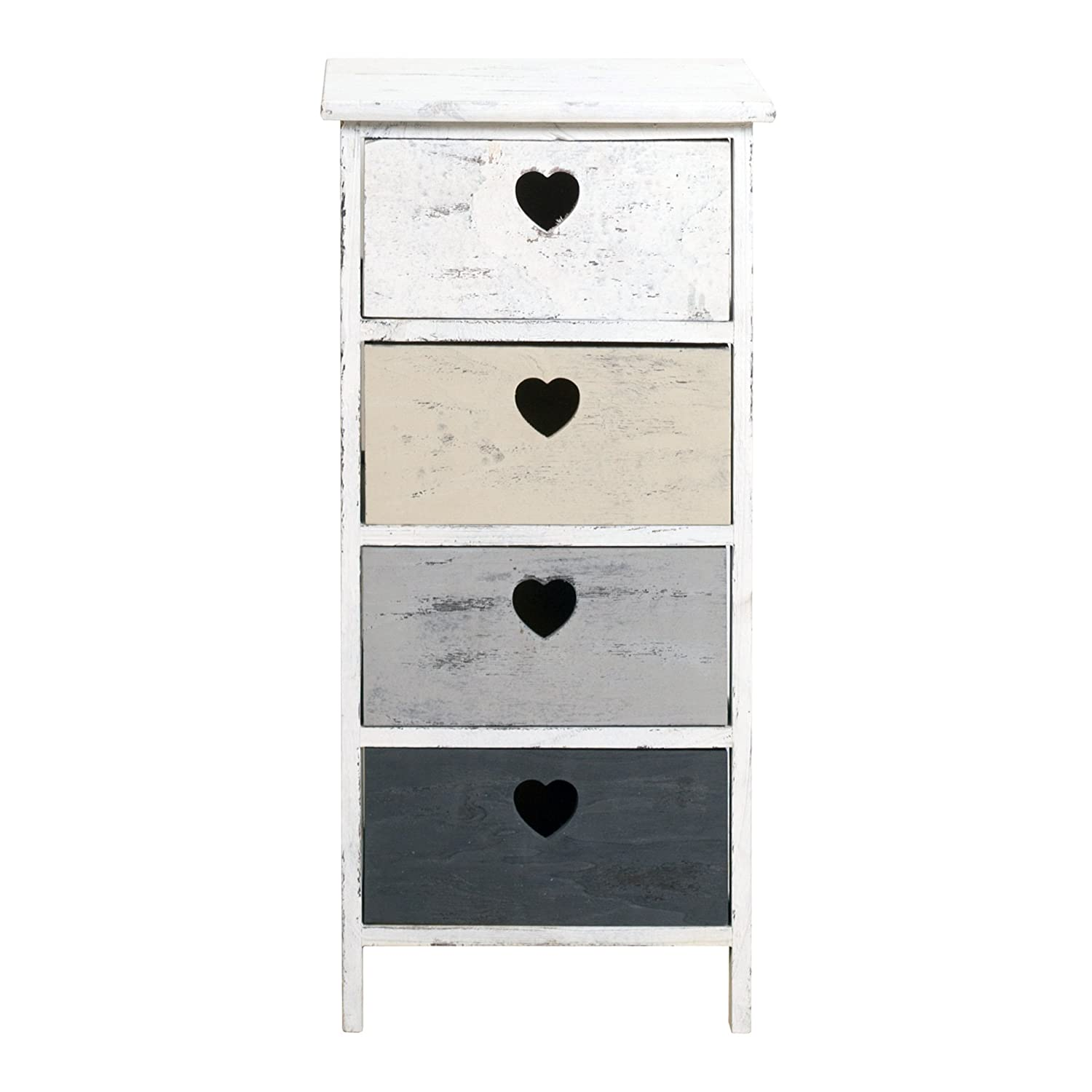 Rebecca Srl Chest od Drawers cabinet DOLCE CASA 4 Drawers White Grey Beige Wood Heart Shabby Chic Vintage Bedroom Bathroom (Cod. RE4394)