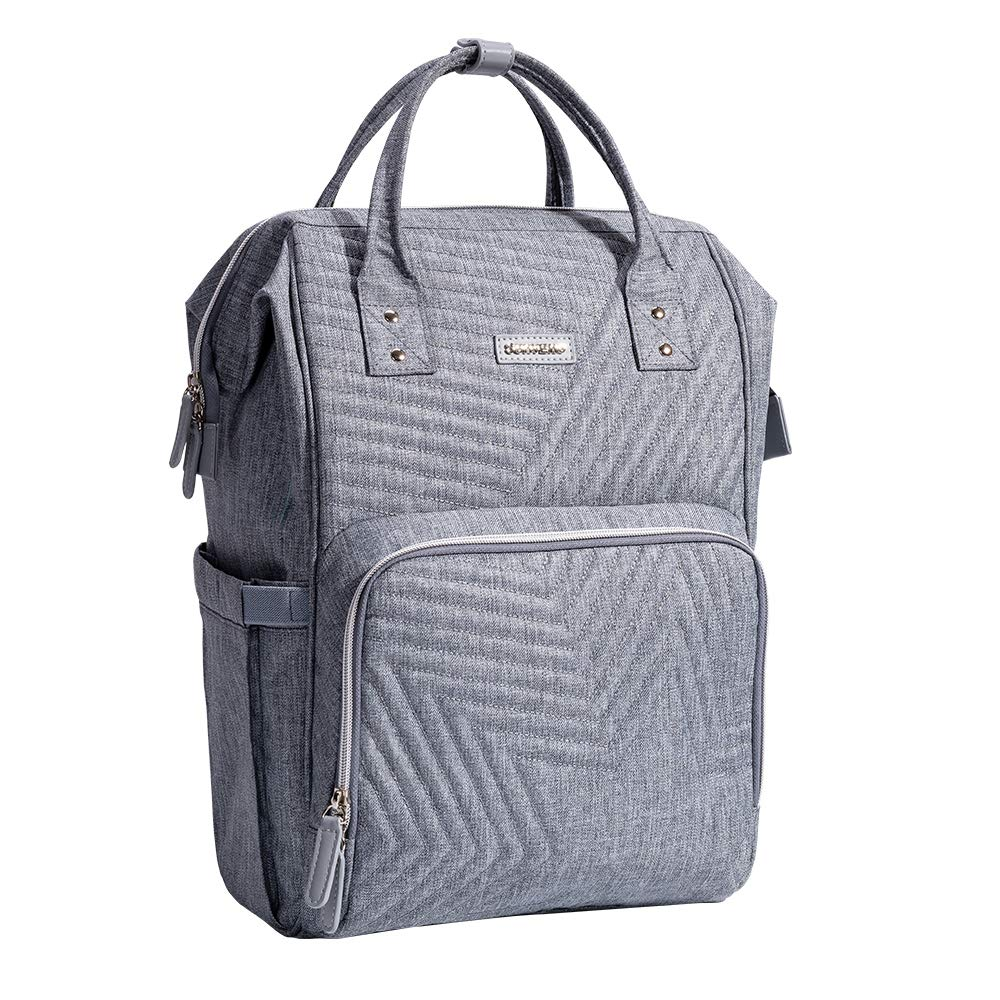 SUNVENO Baby Diaper Bag Backpack Multi-Functional Baby Nappy Changing Bag Insulated Waterproof Large Maternity Diaper Bag (Gray)