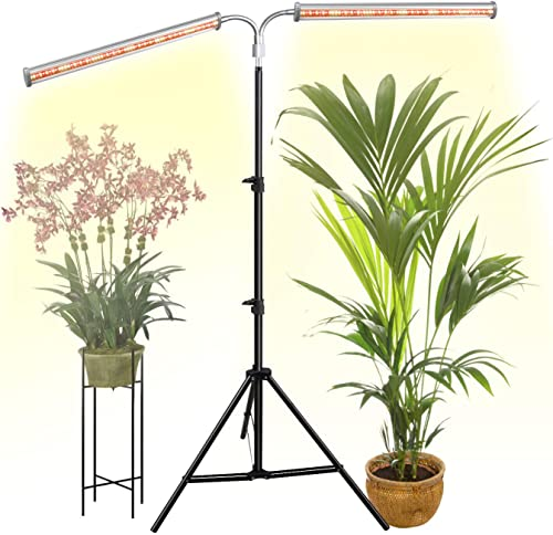 DOMMIA LED Grow Light Full Spectrum, Dual Bars Flexible Gooseneck 70W Floor Lamp for Indoor Plants, Plant Lights with Tripod Stand 2.5ft-6ft Adjustable