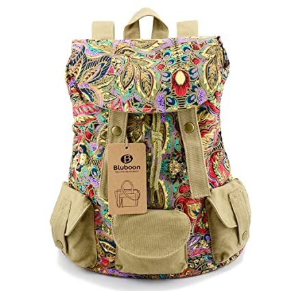 BLUBOON Womens Backpack Vintage Canvas Rucksack Floral Printed (Flower) 24d17a615f