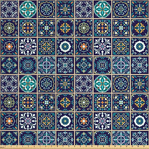LONSANT Mosaic Fabric by The Yard, Portuguese Azulejo Moroccan Culture Ceramic Tiles European Arabian Oriental, Decorative Fabric for Upholstery and Home Accents, 3 Yards, Purple Teal Yellow