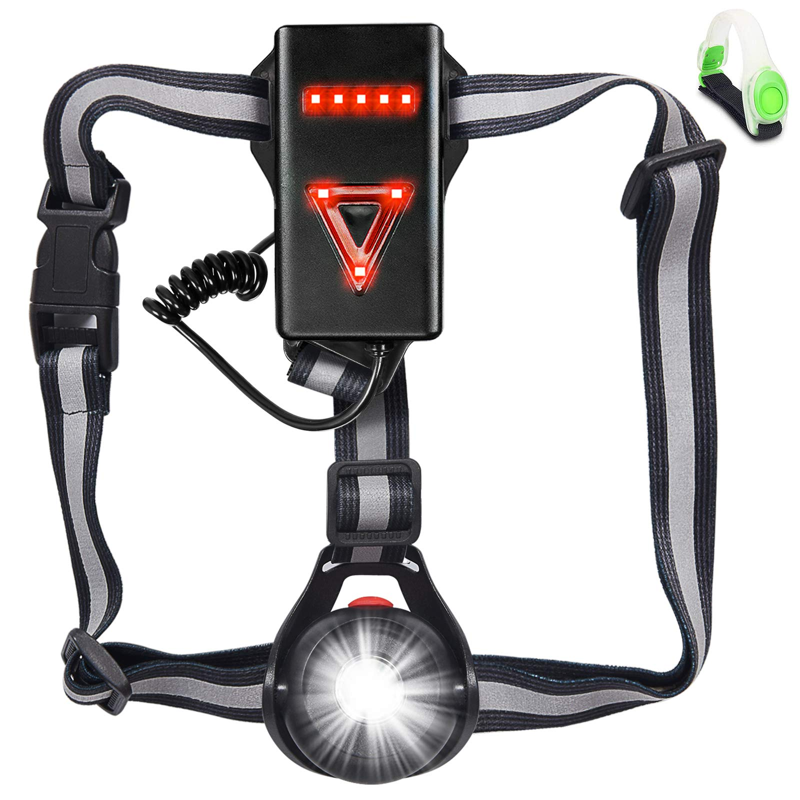 Running Jogging Clip on Running Lights with Runners and Joggers for Hiking Night Running Light with 3 Modes for Runners Running Light Lamp Waterproof Flashlight USB Rechargeable LED Chest Light