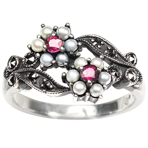 Gemini Cultured Seed Pearl Sterling Silver Ring, Ruby – Dahlia Vintage Collection