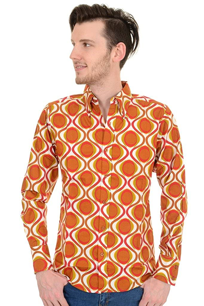 1960s – 70s Mens Shirts- Disco Shirts, Hippie Shirts Run & Fly Mens 70s Retro Mod Geometric Psychedelic Printed Shirt �29.99 AT vintagedancer.com
