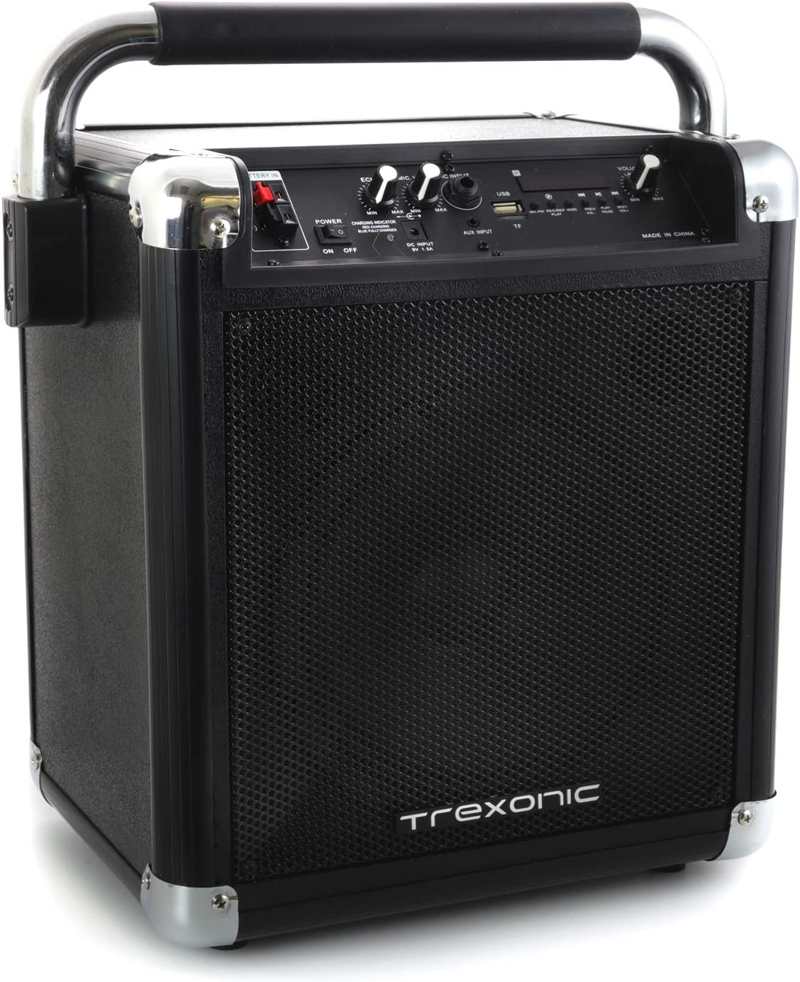 FM Radio /& Microphone Trexonic Wireless Portable Party Speaker with USB Recording Black