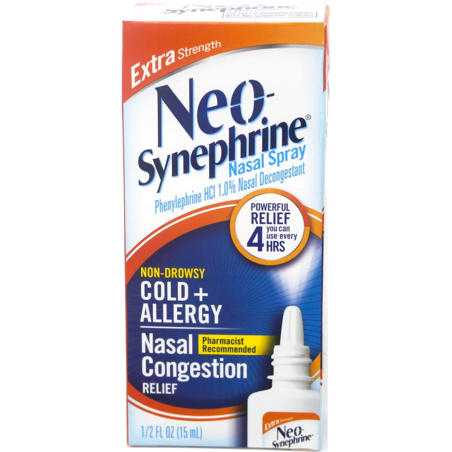 Neo-Synephrine Nasal Spray , Extra Strength Formula, 0.50 Ounces each (Value Pack of 4) by Neosynephrine