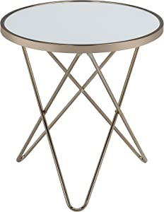 Acme Valora End Table, Frosted Glass & Champagne